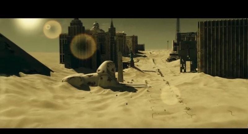在沙漠中的城市,正要被狂沙覆蓋了。(圖/#Mind Warehouse@youtube)