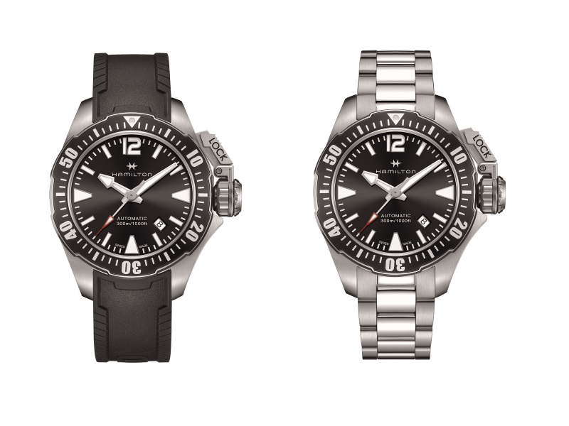 Khaki Navy Frogman 蛙人專業潛水腕錶黑仕款42mm。(圖/漢米爾頓提供)
