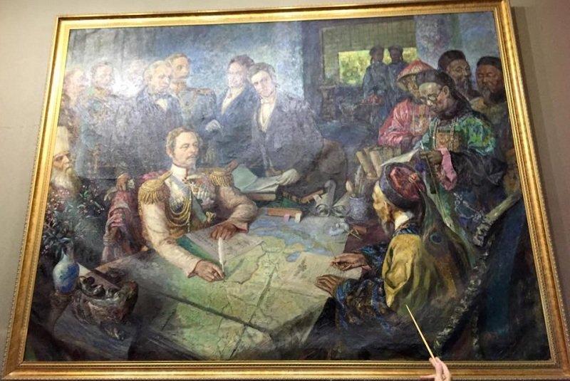 俄國黑龍江斯基與大清國黑龍江將軍奕山的談判簽約圖。(陳耀昌提供)