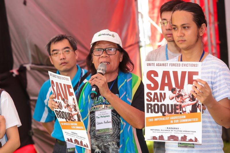 菲律賓San Roque社區在地組織者Gloria Arellano 2日出席「東亞迫遷法庭」座談活動。(顏麟宇攝)