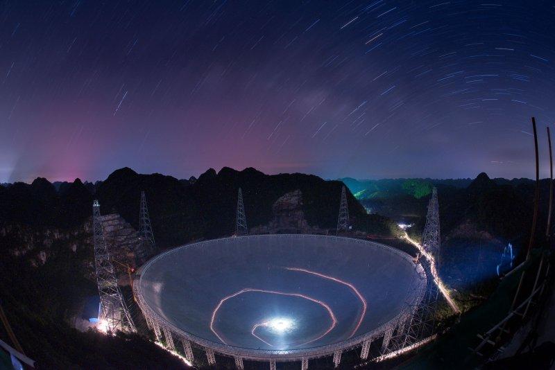 位於中國貴州省的世界最大單口徑射電望遠鏡「500米口徑球面射電望遠鏡」(FAST)(美聯社)