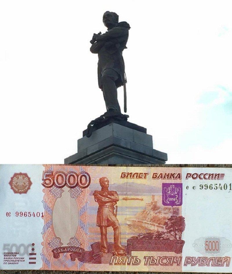從大清帝國拿下120萬平方公里土地的「黑龍江公爵」銅像,因為他對俄國的「貢獻」,他的身影迄今仍在鈔票上。(陳耀昌提供)