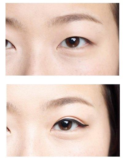 使用前使用後的效果真的很驚人的眼線貼紙,連雙眼皮都冒出來啦!(截圖自/Amazon コジット ふたえ用アイラインシール ネコ目)