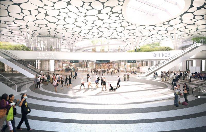 新高雄車站結合廟埕廣場、燈籠與樹蔭下等常民文化意象的活動廣場。(Mecanoo事務所提供)