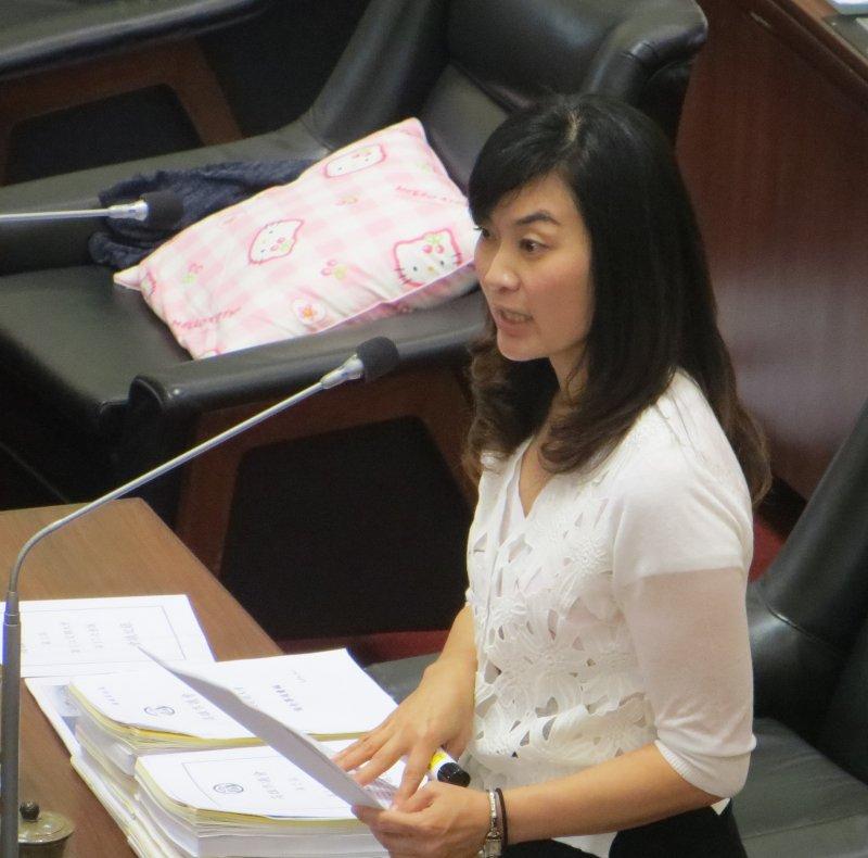 國民黨市議員陳麗娜6月23日依據當日網友在PTT發文,對市府勞動檢查工作提出批評。(楊伯祿攝)