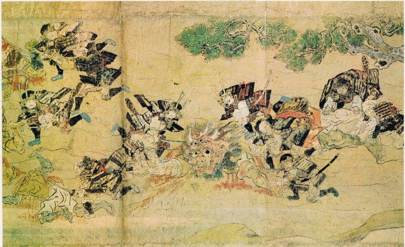 〈大江山絵巻〉裡栩栩如生地描繪了酒吞童子是如何被制伏。(圖/@wikimedia)