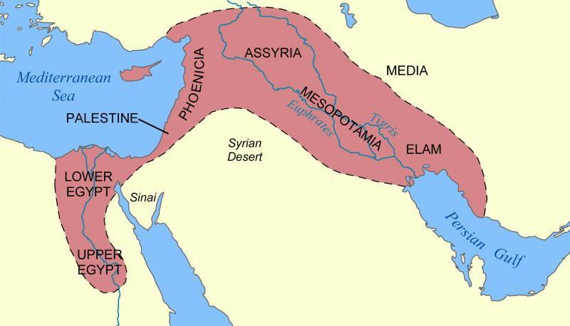 肥沃月彎(Fertile Crescent,西起尼羅河谷,東至西部伊朗(NormanEinstein@Wikipedia / CC BY-SA 3.0)