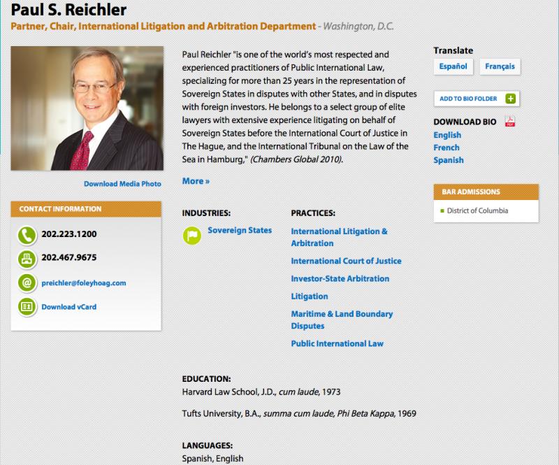 賴克勒律師在律師事務所網頁上的介紹。(Foley Hoag律師事務所)