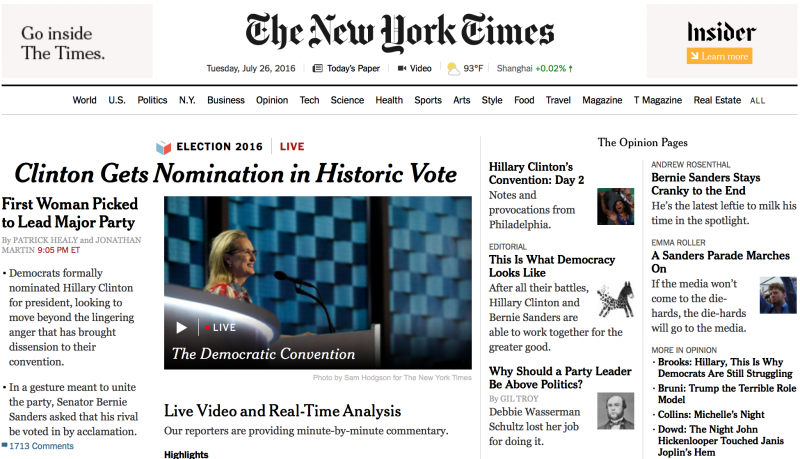 《紐約時報》首頁也大篇幅報導希拉蕊成為首位主流政黨提名的女性總統候選人。(美聯社)