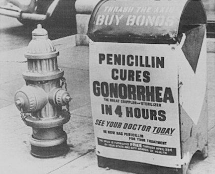 當時連垃圾桶也貼著「四小時內盤尼西林可以治癒淋病」廣告標語。(圖/Alexander Fleming@Wikipedia)