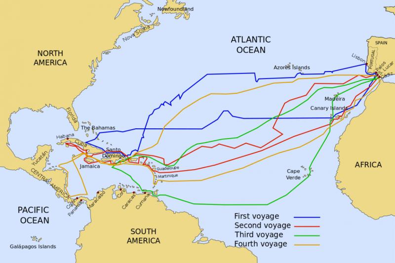 哥倫布共橫越大西洋4次,圖為他的4次航程。(圖/維基百科)
