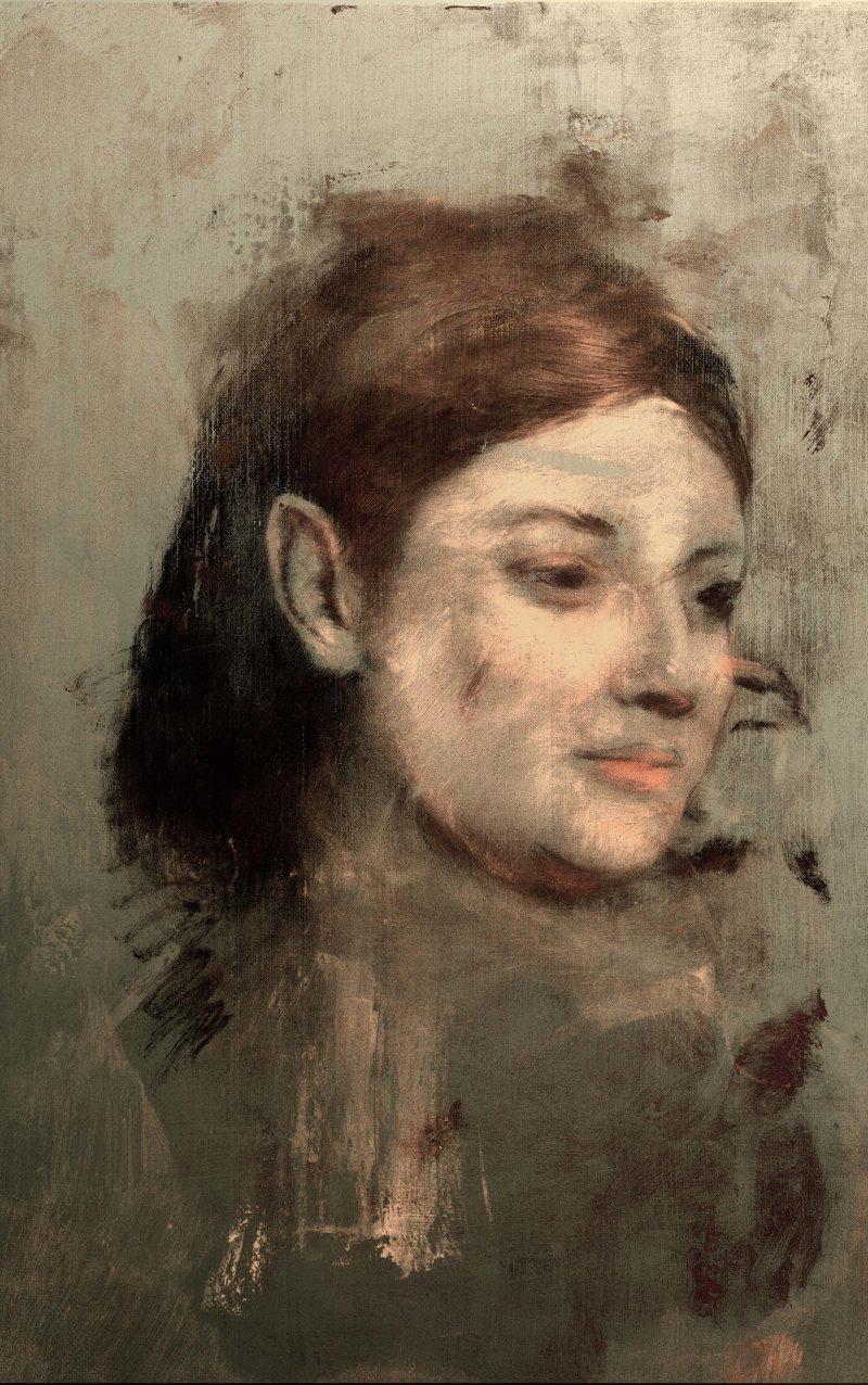 法國印象派大師竇加(Edgar Degas)的《仕女圖》畫中有畫,右這是X光掃描出來、隱藏在下方的另一幅作品(AP)