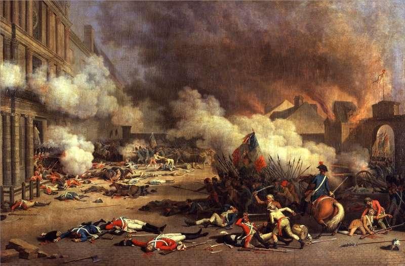 1792年8月10日,法國巴黎暴民攻陷杜樂麗宮(Palais des Tuileries),推翻君主制。(取自Wikipedia)