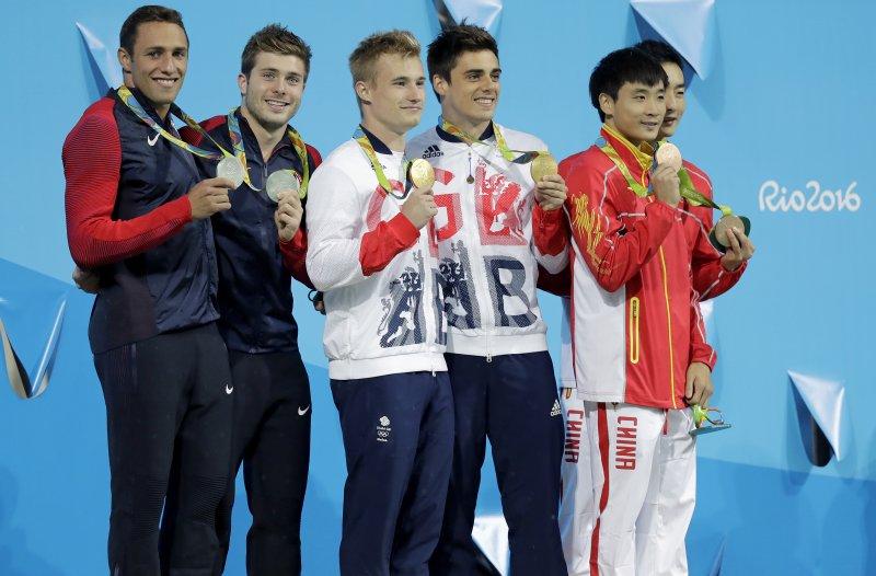 里約奧運跳水男雙3公尺跳板賽。(美聯社)
