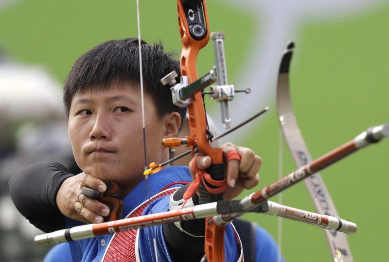 台灣女子射箭代表隊「雷母」雷千瑩。(美聯社)