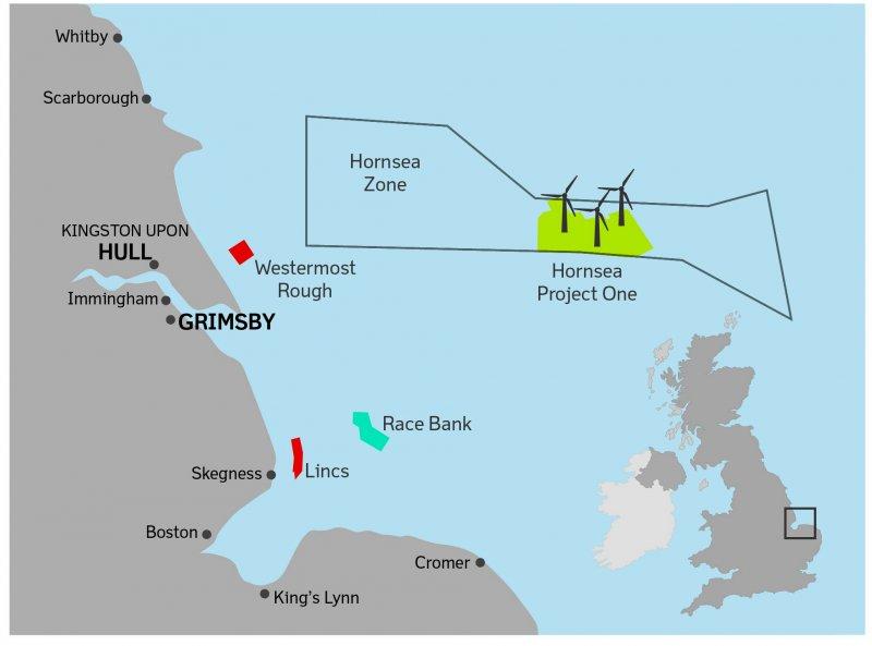 英國東北部海域的大型海上風力發電場「荷恩夕計畫」(Hornsea Project)(取自網路)
