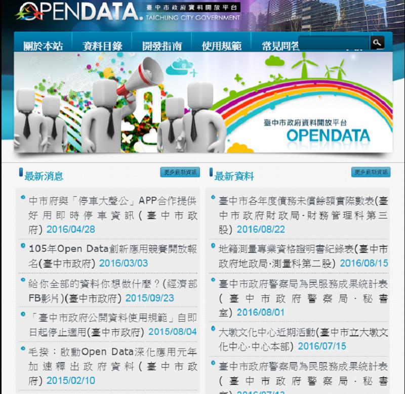 台中市開放政府平台。(官網截圖)