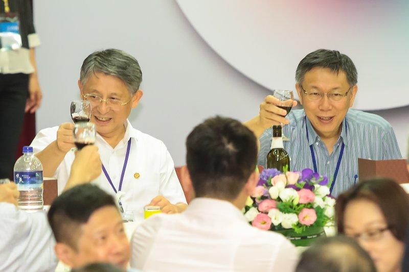 台北市長柯文哲、上海市委常委兼統戰部長沙海林22日一同出席雙城論壇歡迎晚宴。(顏麟宇攝)