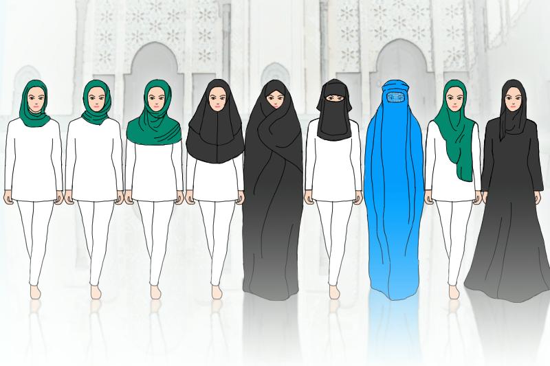 穆斯林女性的ˊ頭巾、罩袍款式千變萬化。
