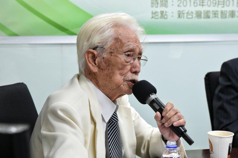 新台灣智庫創辦人辜寬敏在席間強調,前總統陳水扁是台灣不可抹滅的歷史。(林惟崧攝)