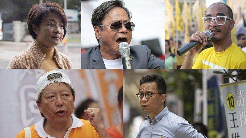 香港立法會選舉,5位候選人「差一點」,未能躋身立法會。(從左到右/上:方國珊、黃毓民、黃洋達。從左到右/下:李卓人、王維基。來源;香港01)