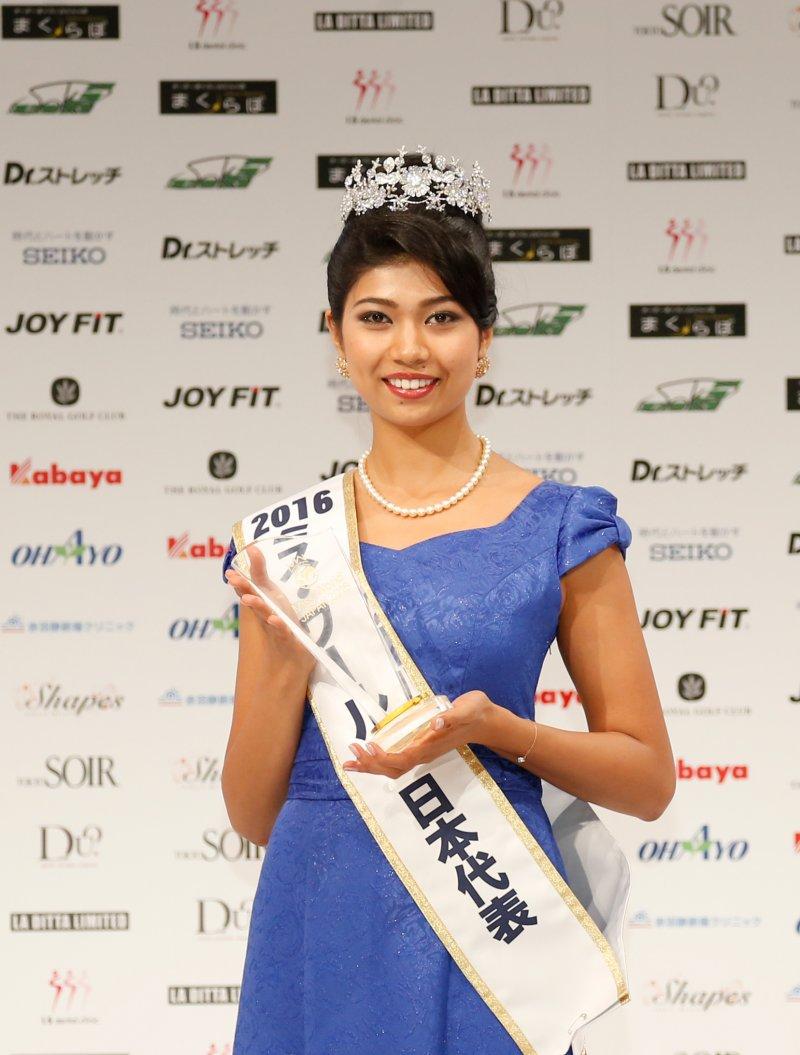 奪下大會后冠的吉川普莉安卡。(取自世界小姐日本代表大會官網)
