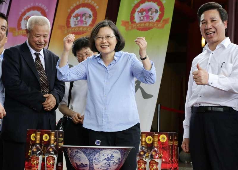 總統蔡英文出席「金門中秋博狀元餅活動」。(總統府提供)