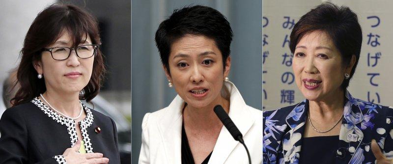 日本政壇3女傑,左起:防衛大臣稻田朋美、民進黨黨魁蓮舫、東京都知事小池百合子(AP)