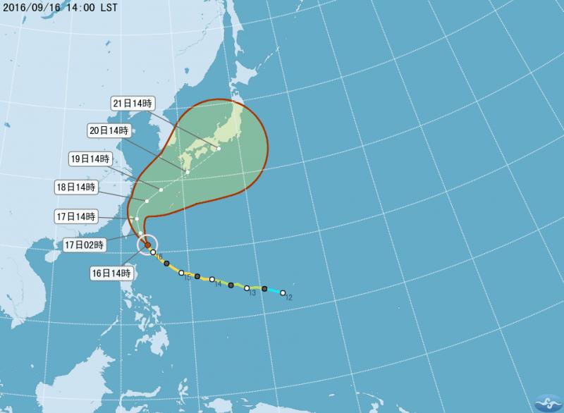 馬勒卡颱風的預估路徑。(取自中央氣象局)