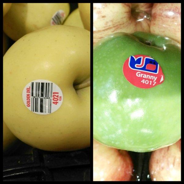 蘋果有多個品種和多種顏色,所以PLU號碼較多。