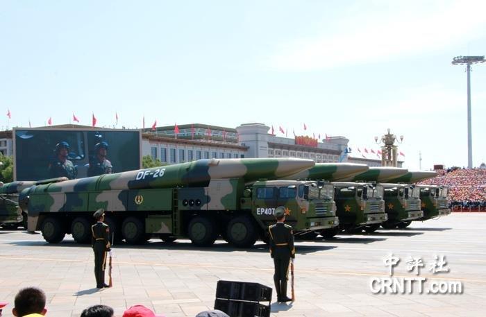東風-26中遠程彈道導彈。(中評社)