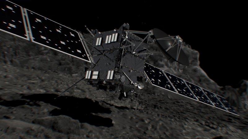 藝術家想像羅塞塔號(Rosetta)衝擊彗星67P的情況(ESA)