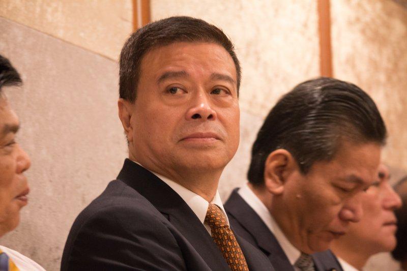 親民黨副秘書長劉文雄,出席宋楚瑜長榮桂冠記者會。(李振均攝)