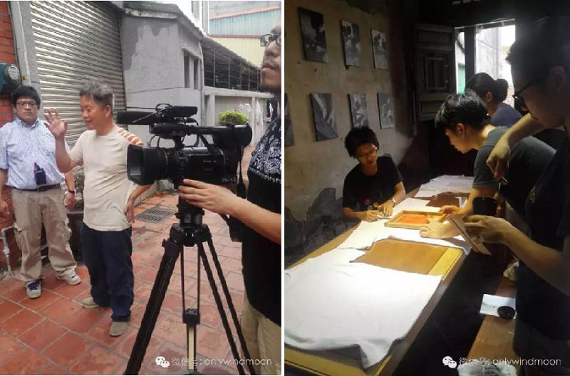 鹿港人許書基(左/中)幹著修復老屋的志業;在許書基的老屋管理教育中心,年輕人正在製作文化衫(右)。(丁香結攝)