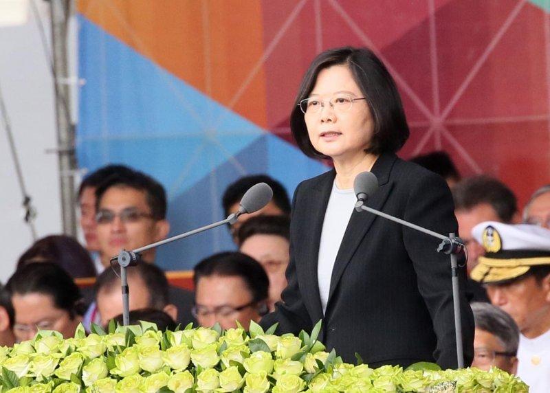 總統蔡英文在2016國慶大典發表演說。(總統府提供)