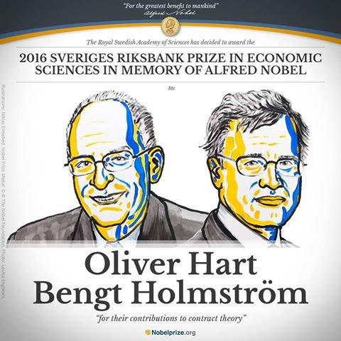 2016年諾貝爾經濟學獎由英國學者哈特及芬蘭學ˋ者霍姆斯特隆共享殊榮。(翻攝臉書/Nobel Prize)