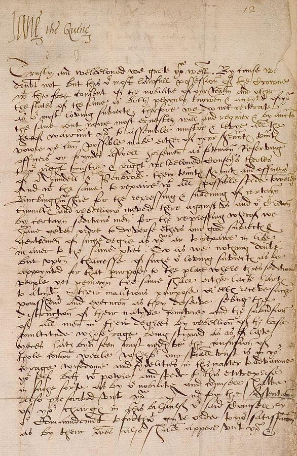 珍.葛雷(Lady Jane Grey)的親筆書信,她在信裡自稱女王(取自Wikipedia/Public Domain)
