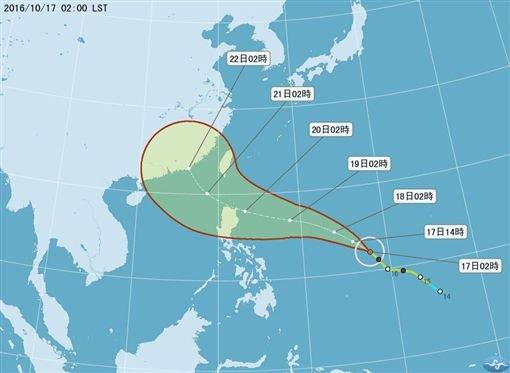 海馬颱風路徑預測圖。(取自中央氣象局)