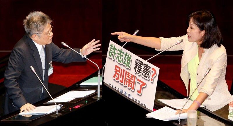 大法官被提名人許志雄(左)與國民黨立委柯志恩針鋒相對(右)。(陳明仁攝)