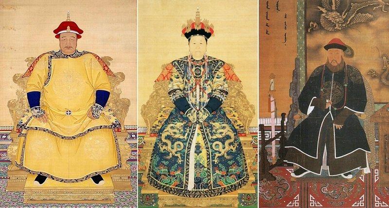 皇太極(左)、孝莊(中)與多爾袞(右)的畫像。(維基百科)