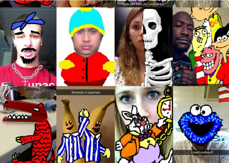 由Google搜尋到的各種用戶在Snapchat上充滿創造性的照片截圖 。(作者提供)