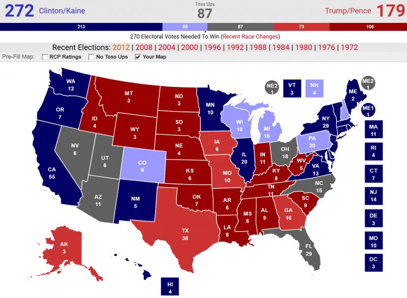 AP對全美50州與華府選舉人票的最新評估