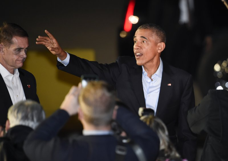 歐巴馬23日為希拉蕊站台。(美聯社)