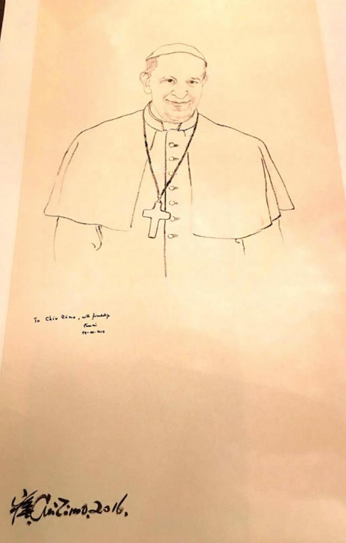 教宗方濟各畫像,上有教宗親筆簽名(崔自默大師提供)