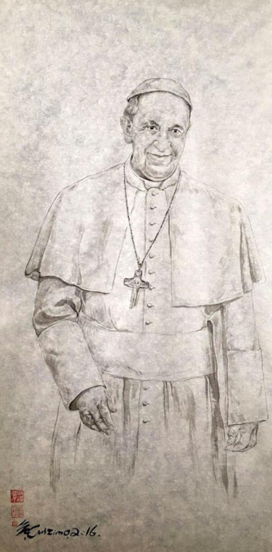 教宗方濟各的畫像,由教宗個人保存(崔自默大師提供)