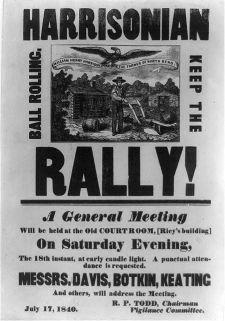 輝格黨候選人哈里森的競選宣傳。(Library of Congress)