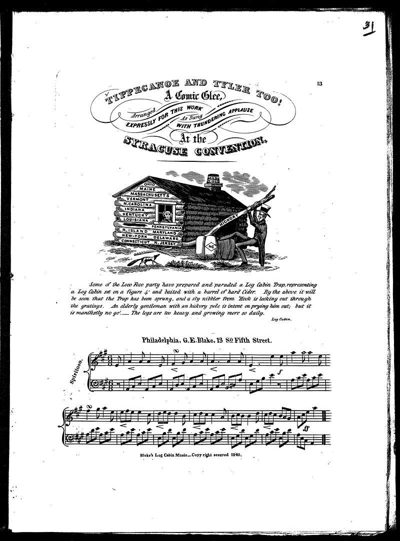 輝格黨當時為哈里森和泰勒製作朗朗上口的競選歌曲。(wikipedia/public domain)