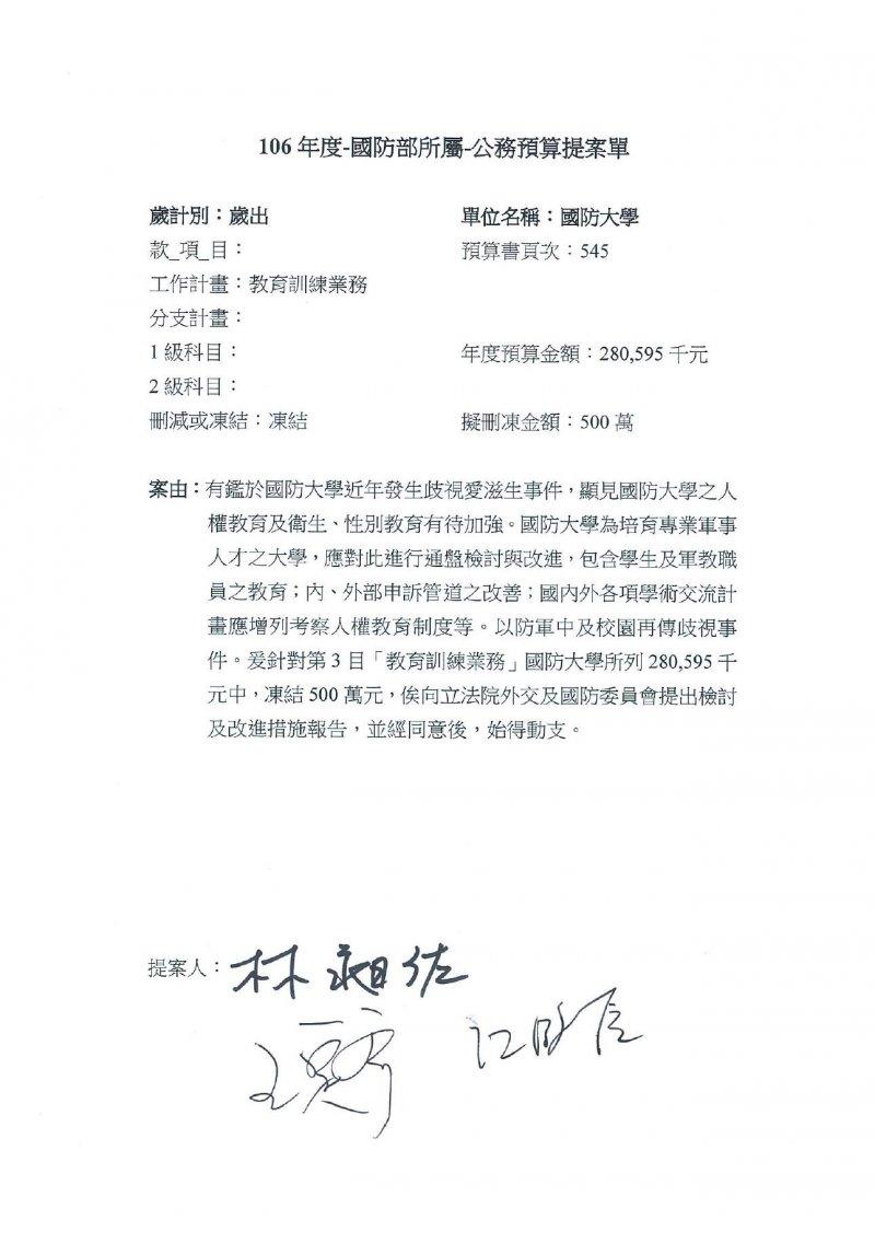 從藍委流出的時力立委林昶佐的預算提案,上面只有藍委簽字。