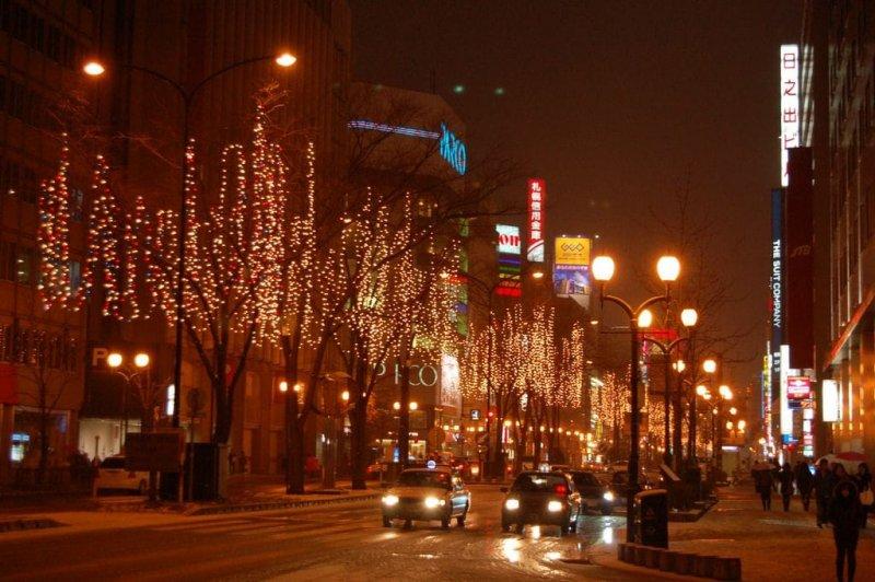 街道景觀, 被燈泡裝飾著的行道樹, 令夜晚的札幌更加閃耀動人。(圖/MATCHA提供)