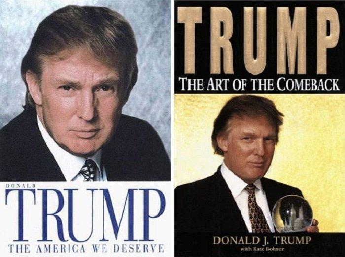 川普能寫《我們該有什麼樣的國家?》(左),也能教人如何東山在起(右)。